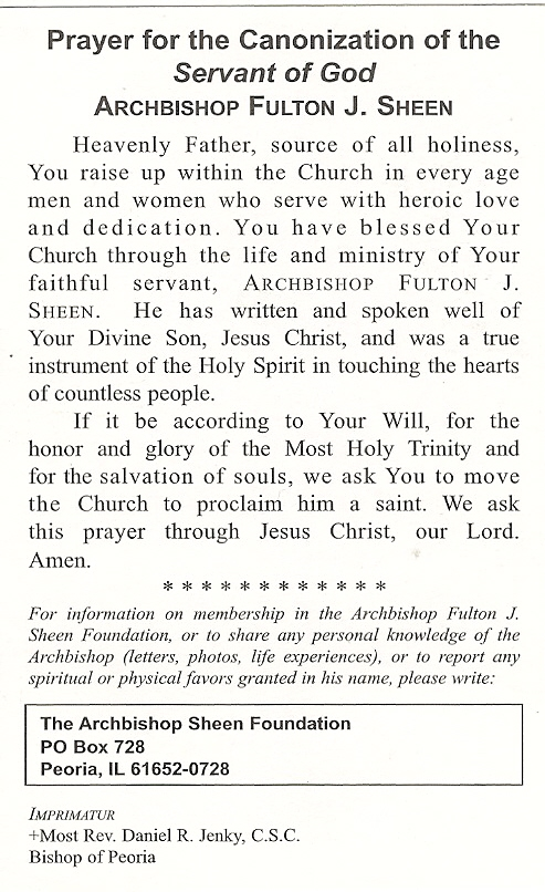 Canonization Prayer Card