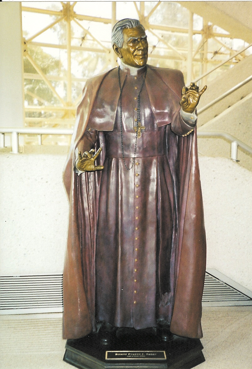 Life sized statue of Bishop Sheen graces the grounds of Crystal Cathedral at Garden Grove California